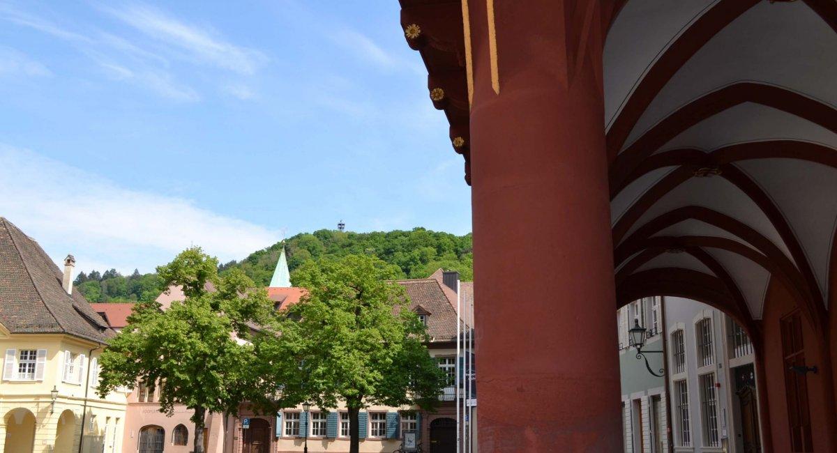 Blick vom Historischen Kaufhaus zum Schlossberg